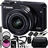 Canon EOS M10 Mirrorless Digital Camera with EF-M 15-45mm f/3.5-6.3 IS STM Lens (Black) 19PC Accessory Kit - Includes 16GB Memory Card + MORE - International Version (No Warranty)