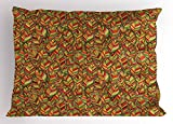 Ambesonne Leaves Pillow Sham, Autumn Faded Leafage Foliage Forest Fall Woods Botanical Tree Shady Ecology Theme, Decorative Standard Size Printed Pillowcase, 26 X 20 inches, Multicolor