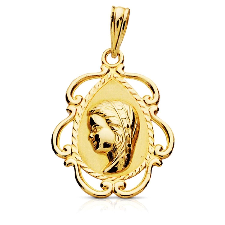 Medalla Virgen niña oro amarillo de ktes tallada ª comunión