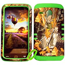 Cellphone Trendz High Impact Hybrid Rocker Protective Case for Motorola Moto G XT1032 – Hunter Series Real Camo Mossy Dry Leaves Hard Shell Lime Green
