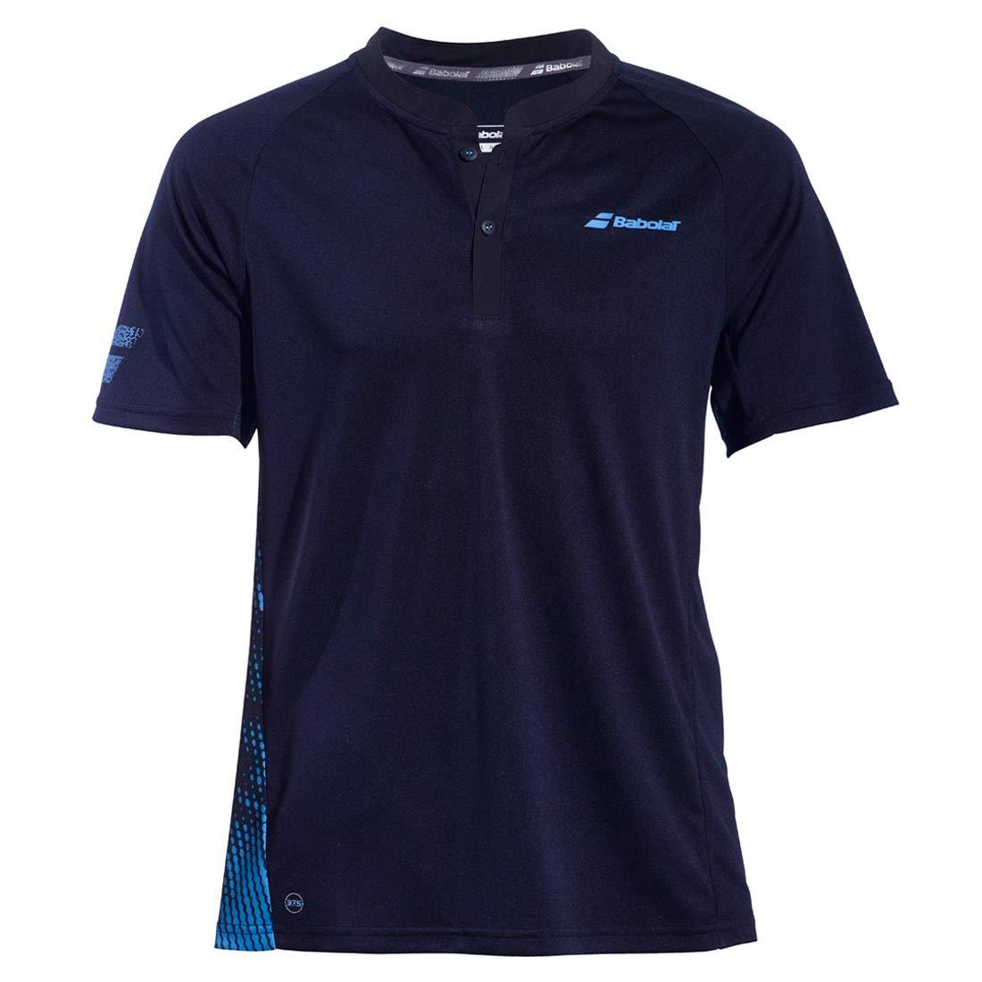 Babolat Mens Performance Lightweight Breathable Tennis Polo Shirt, Black/Parisian Blue (Small)