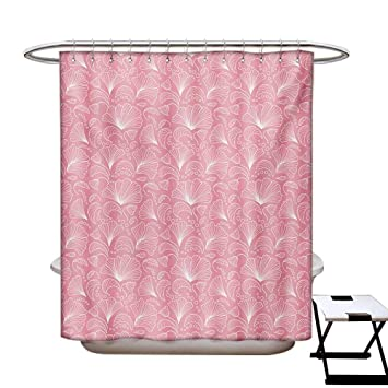 BlountDecor Pale Pink Shower Curtain Collection By Ornamental Floral Pattern With Swirled Lines Flourishing Petals Feminine