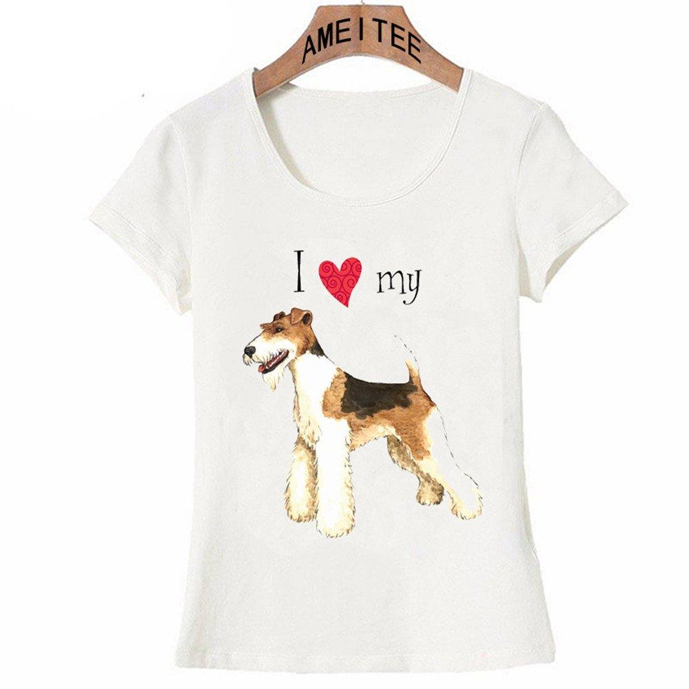 HASHIT Ich Liebe Mein Draht Fox Terrier T-Shirt 2018 Sommer Mode ...