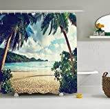 Shower Curtain Set Beach Sea Tropical Palm Tree Leaves Waterproof Mildew Soap Resistant Bathroom Decorations 100% Polyester Fabric Equipped with 12 Hooks- 72 x 72 inches