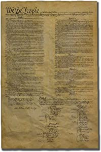 United States Constitution, Authentic Full Size Replica Printed on Antiqued Genuine Parchment. 23 x 29