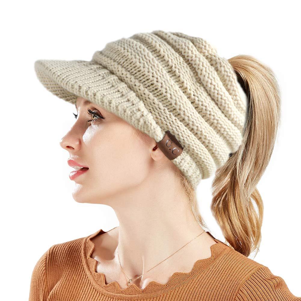 982f753bca8a9 Tacobear Mujer Sombreros de Invierno Cola de Caballo Gorro Gorro de Punto y  el Agujero Mujer