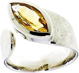 Peter Erker Silberring mit Citrin im Marquise Schliff 14x7mm rhodiniert