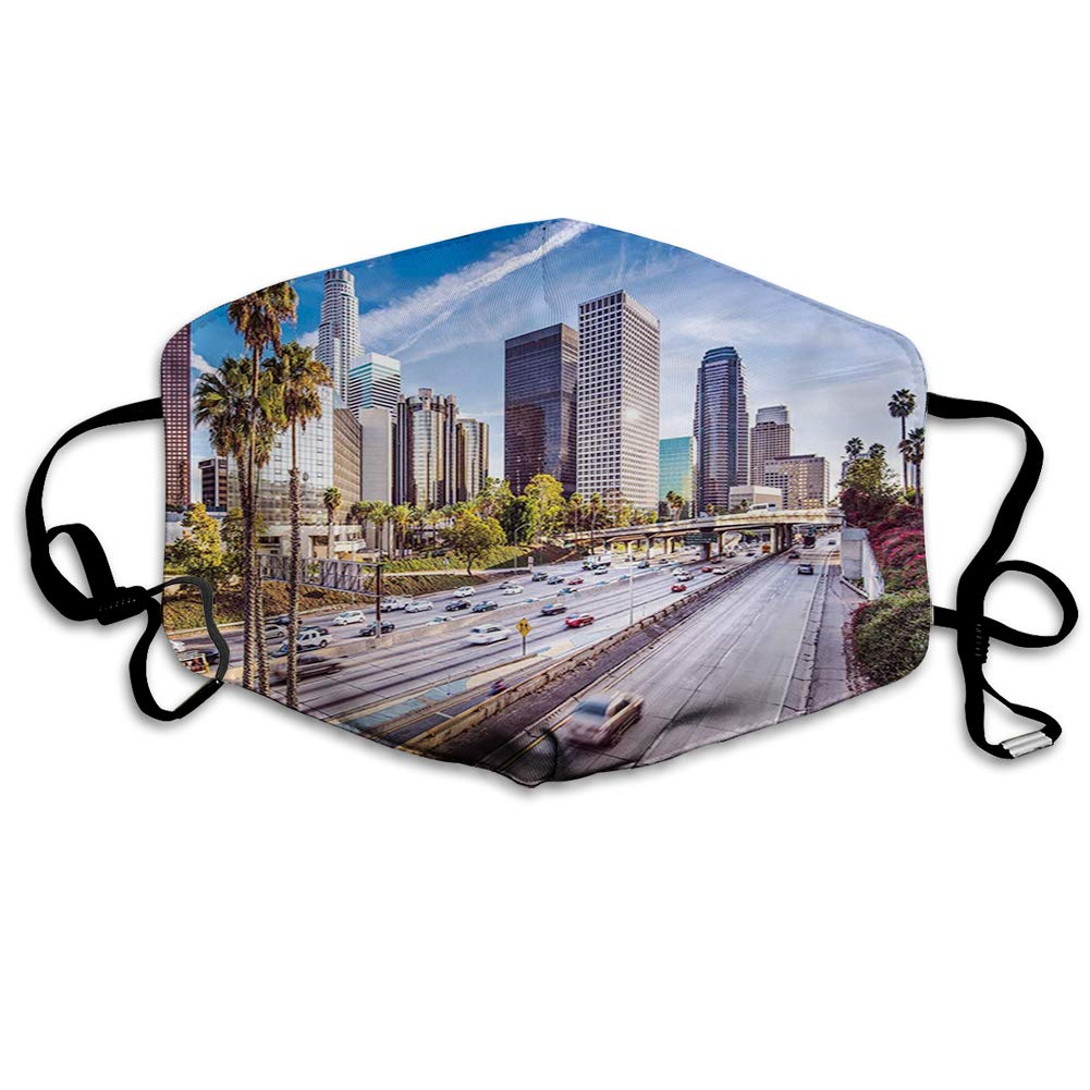 Comfortablemask,Downtown Cityscape of Los Angeles California USA Avenue Buildings Palms,PrintedFacialdecorationsforUnisex H-0041932