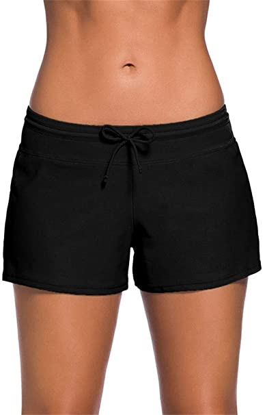 e7344feb2a Vanbuy Women Swim Shorts Tankini Swimsuit Bottom Boy Shorts Swimwear  Bathing Suit