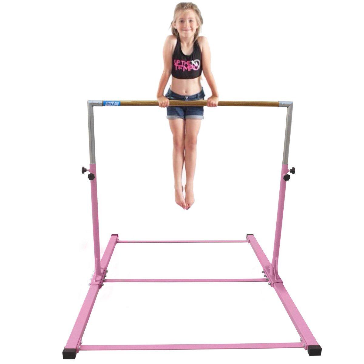 Gymmatsdirect Gymnastics Junior Training Bar - Adjustable Horizontal Kip Bar for Kids 4.2' Wide 6' Long 36''-59'' High, Pink