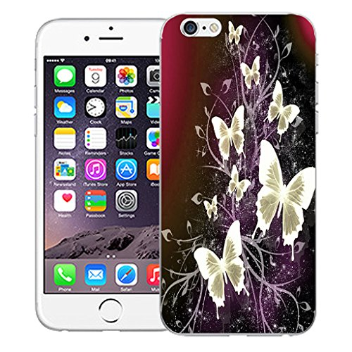 "Mobile Case Mate iPhone 6 4.7"" Silicone Coque couverture case cover Pare-chocs + STYLET - Cluster Butterflies pattern (SILICON)"