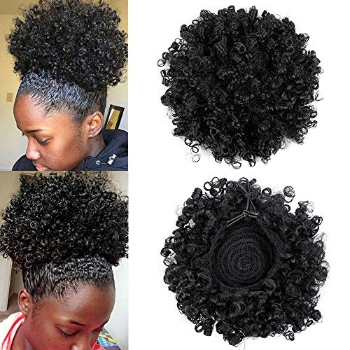 GX Beauty Afro Puff Drawstring Ponytail Short Synthetic African America Kinky Curly Ponytail Puff Hairpiece for Black Women(1B#)