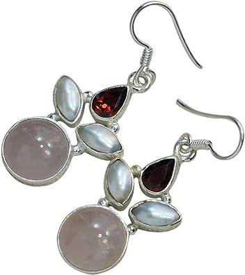Cultured Freshwater Pearl and Garnet 925 Sterling Silver Dangle Earrings