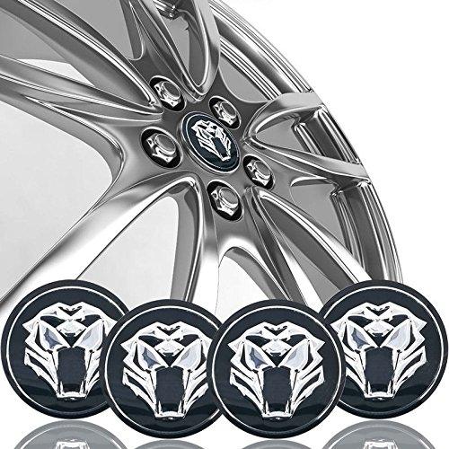Tiger head Car Steering tire Wheel Center car sticker Hub Cap Emblem Badge Decals Symbol For Jaguar Hubcap Audi BMW Nissan Ford ()