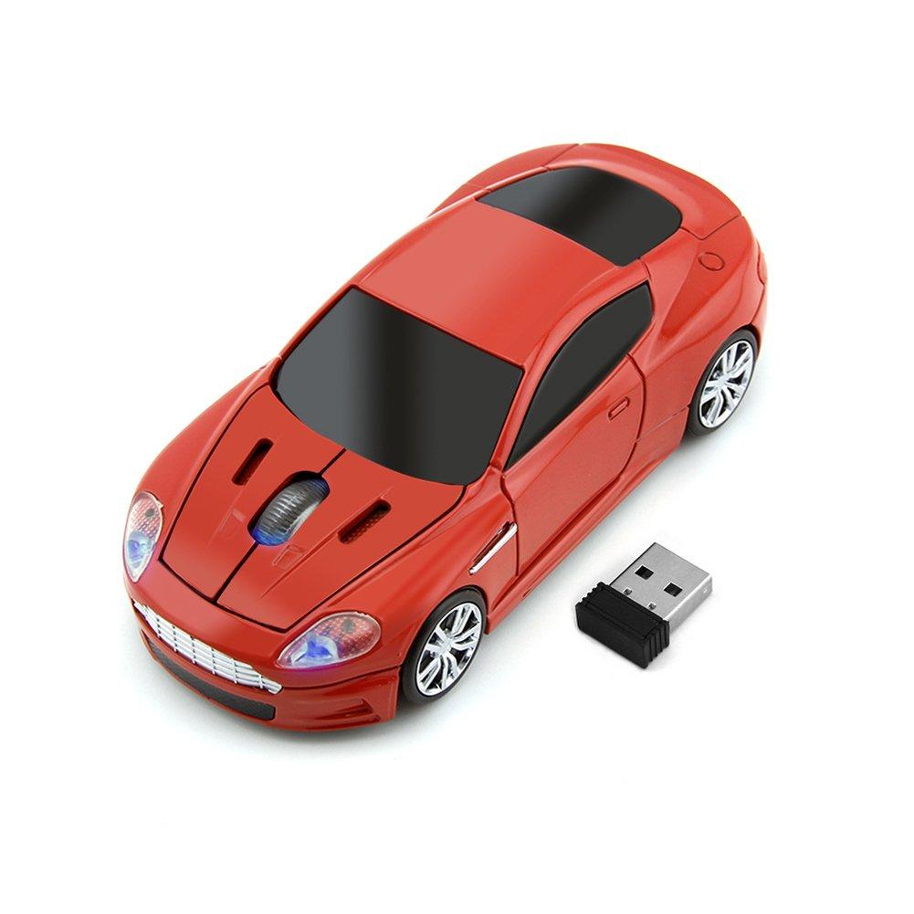 Usbkingdom スポーツカー形状のワイヤレスマウス 光学式 2.4GHz USBゲーミングマウス USBレシーバー付き B01M6D3BEE レッド