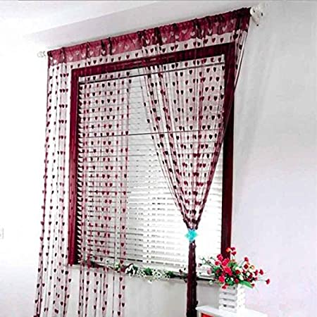 Omkuwl Sweet Heart Tassel String Door Curtain Window Room Curtain Divider Brown