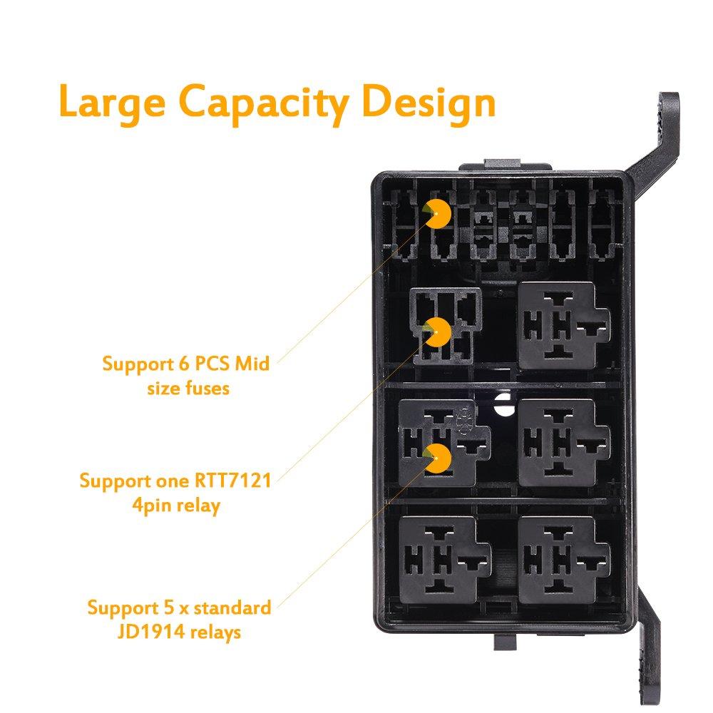 5-Pin KFZ Relaix mit 12 AWG Hochleistungsdr/ähten 6 Pack 30A ATO//ATC Sicherung MICTUNING 12V Relais Set mit Sicherung