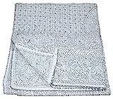 Vedant Designs Indian Handmade Quilt Vintage Kantha Bedspread Throw Cotton Blanket Ralli Gudari White 90x108 inch