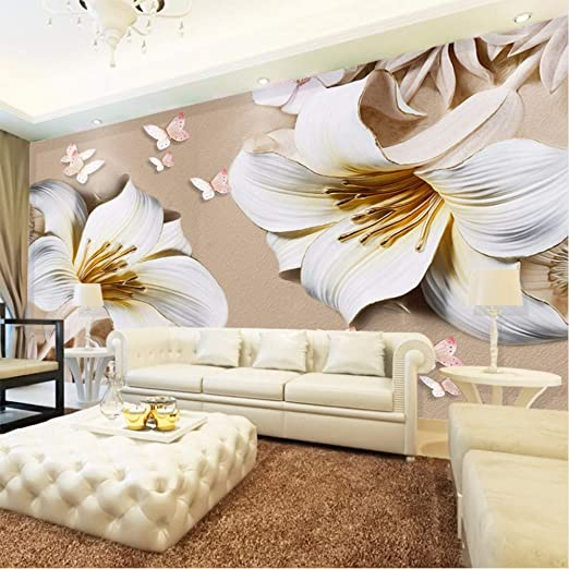 Amazon Com Hwhz Custom Mural Wallpaper 3d Stereo Embossed Lily Living Room Tv Background Wall Painting Butterfly Flower Wallpaper For Walls 3 D 120x100cm Kitchen Dining