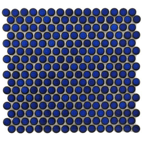 Penny Blue Eye 12 1/4 x 12 Inch Porcelain Mosaic Floor & Wall Tile (10 Pcs/10.2 Sq. Ft. Per Case, $1 Standard Shipping), Model: BTFKOMPR24, Tools & Hardware store