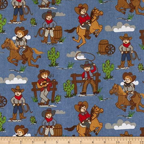 (Riley Blake Cowboy Flannel Main Blue Fabric by The Yard)