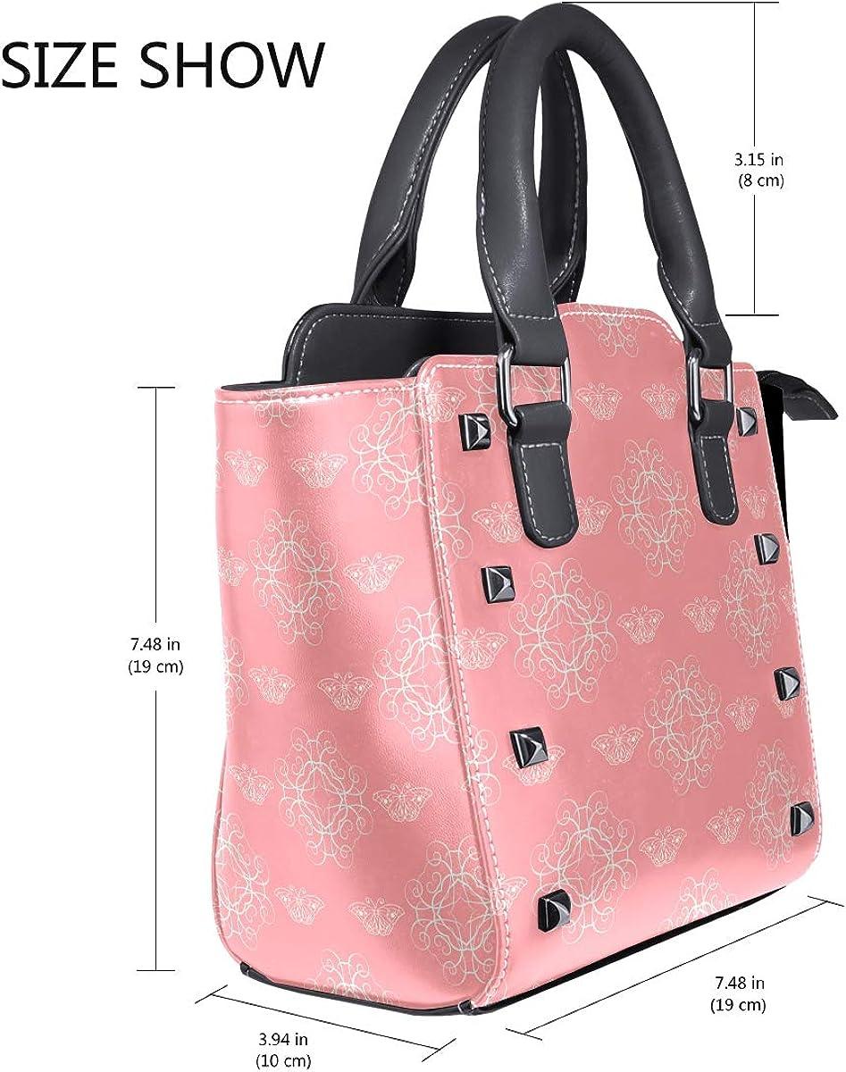 Pink Top Handle Satchel Handbags Leather Tote Adjustable Shoulder Rivet Bag for Women