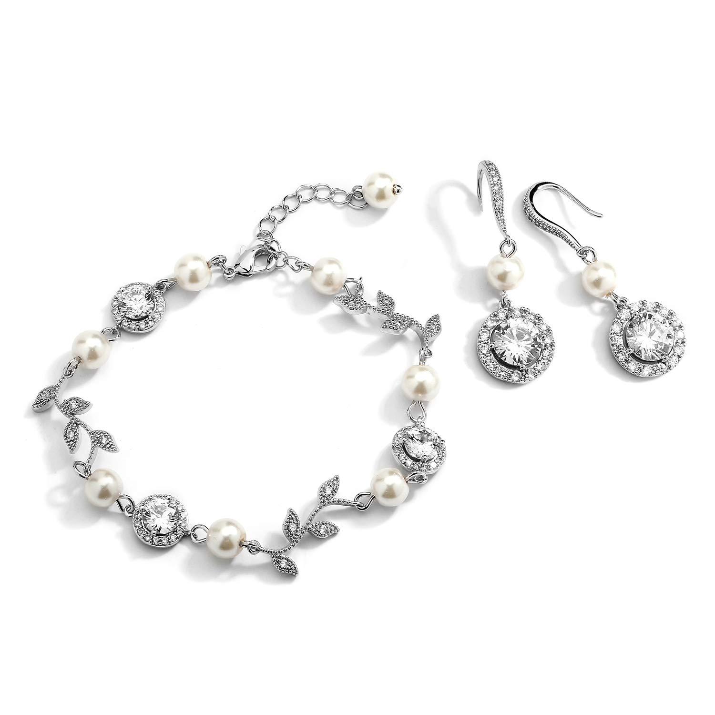 Mariell Silver Vine & Ivory Pearl CZ Bridal Bracelet & Earrings Set - Wedding Jewelry for Bridesmaids