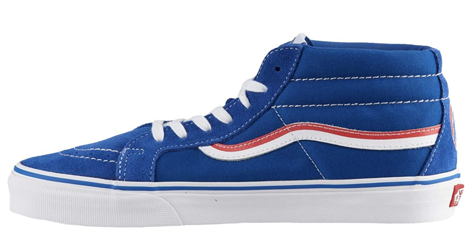 Amazon.com: Vans SK8 Mid Reissue Chicago Cubs MLB Baseball Red Blue ...