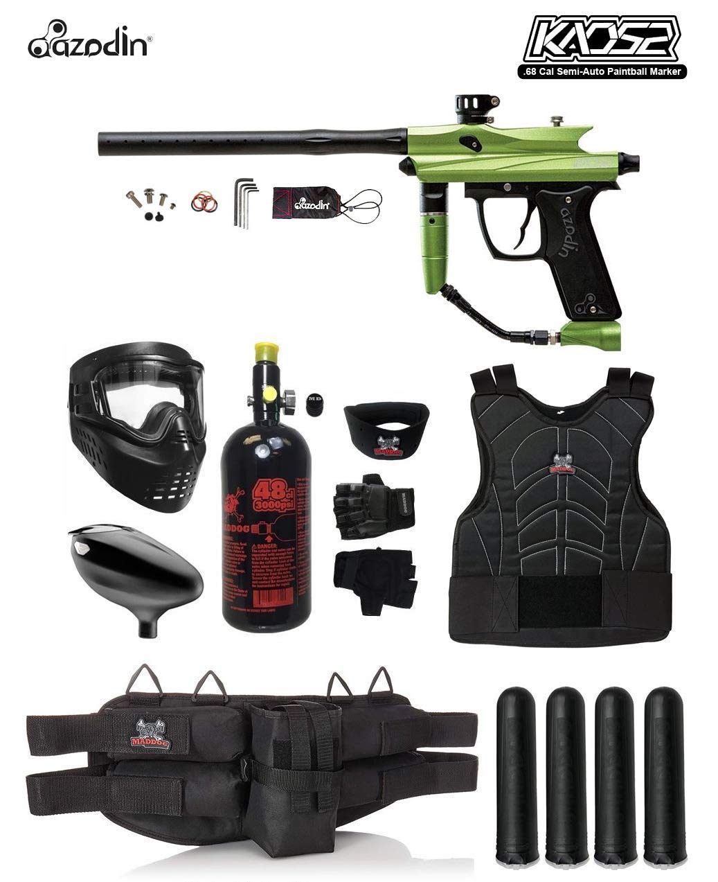 MAddog Azodin KAOS 2 Starter Protective HPA Paintball Gun Package - Green/Black
