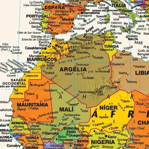 Amazon.com: Mapa mural del mundo contemporáneo en español ...