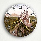 "Neuschwanstein Castle Vintage Photograph 6"" Silent Wall Clock (Includes Desk/Table Stand)"