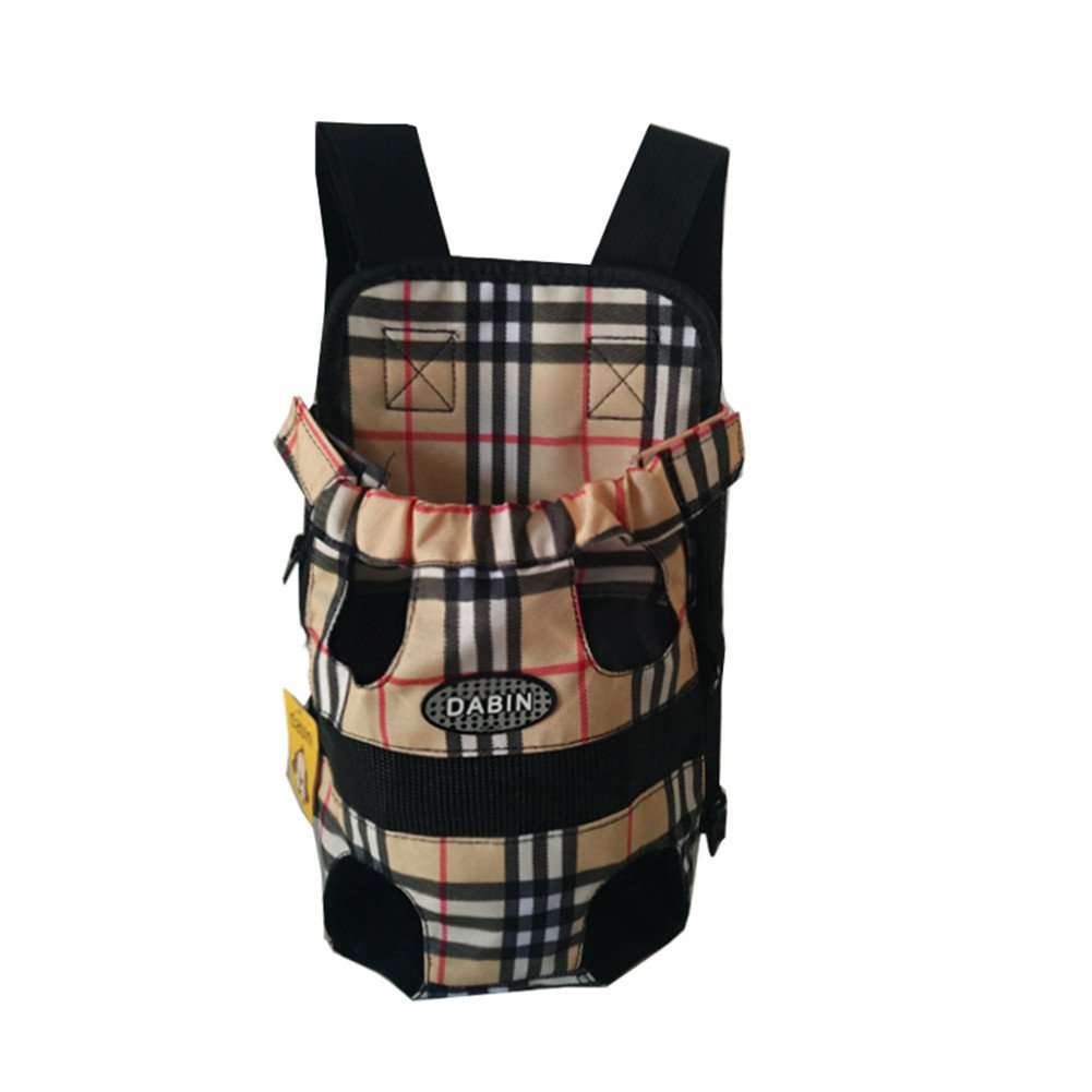 Wesell Lightweight Cute Plaid Legs Out Front Pet Dog Carrier Front Chest Backpack Puppy Tote Holder Bag Sling Outdoor