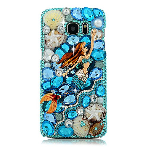 Galaxy S7 Edge Case - Maviss Diary Luxury 3D Handmade Bling Crystal Mermaid with Shiny Blue White Diamond Glitter Rhinestone Gems Ocean Design Clear Hard PC Cover for Samsung Galaxy S7 Edge (2016)