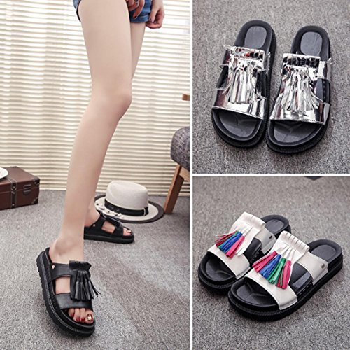 Transer Ladies Roman Flat Slippers- Women Summer Sandals Comfortable Leisure Shoes Silver QNOJ5b
