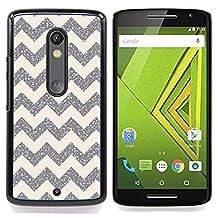- Chevron Pattern Silver Sparkle Stars/ Hard Snap On Cell Phone Case Cover - Cao - For Motorola Verizon DROID MAXX 2 / Moto X Play