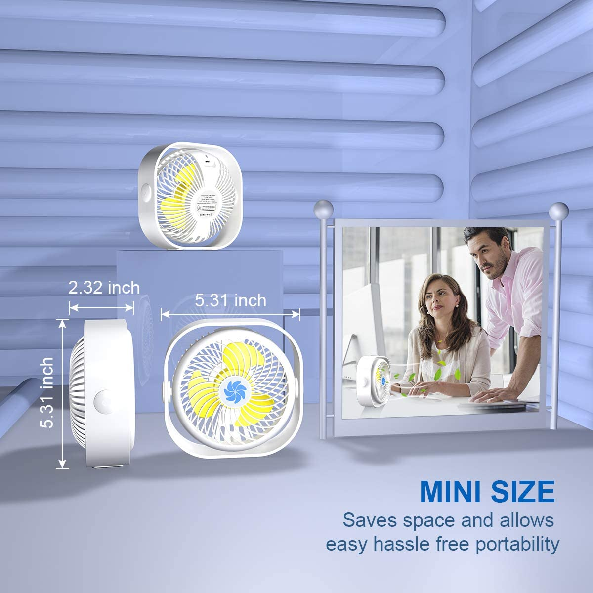 Mini Desk Fan,2000mAH Rechargeable Battery Operated Small Table Fan Portable USB Desk Fan with 3 Speed 360/°Rotating Free Adjustment Personal Fan for Home Ivory White Office Desktop,Outdoor Camping
