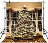 OUYIDA 8X8FT Seamless Christmas Tree Decorating Pictorial Cloth Customized Photography Backdrop Background Studio Prop CEM03C(Updated Material)