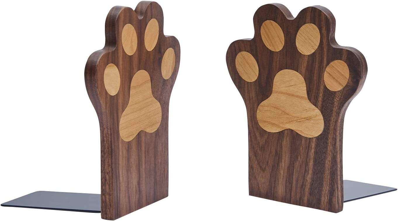 pandapark Wood Paws Bookends,Nature Coating,Decorative Bookend (Paws-Walnut)