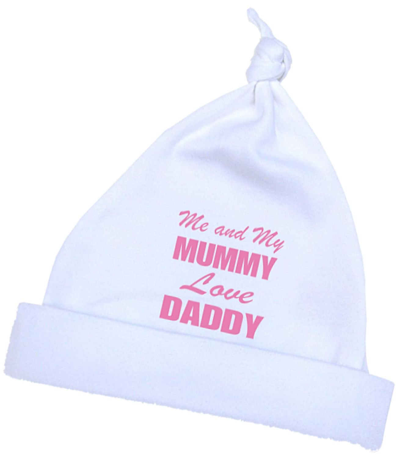 1 'ONE' Me and my Mum Love Daddy Knotted Hat in a choice of 4 Colours. Premature Baby Clothes 3.5lb-7.5lb Niccolas B