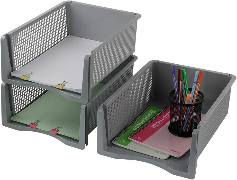 Qshape Briefablage Papierablage Ablagef/ächer Dokumentenablage Stapelbar A4 Grau 3 St/ück