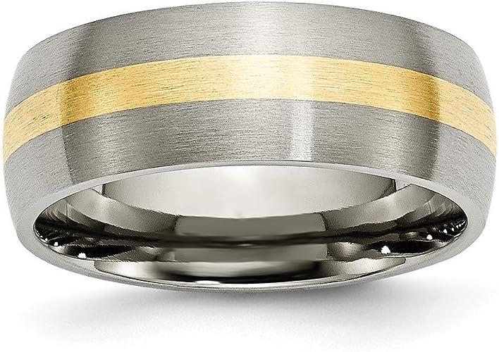 Titanium 14k Yellow Inlay 8mm Brushed Band