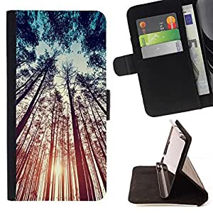 Momo Phone Case / Flip Funda de Cuero Case Cover - Bosque Naturaleza Summer Sky Ray - LG G4