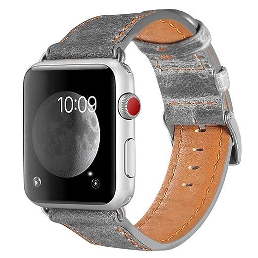 Correa De Reloj Cuero Vintage Correa De Repuesto Cuero De PatróN Slub Correas Reloj Suave Correa De Cuero Hebilla De Acero Banda para Apple Watch,iStary: ...