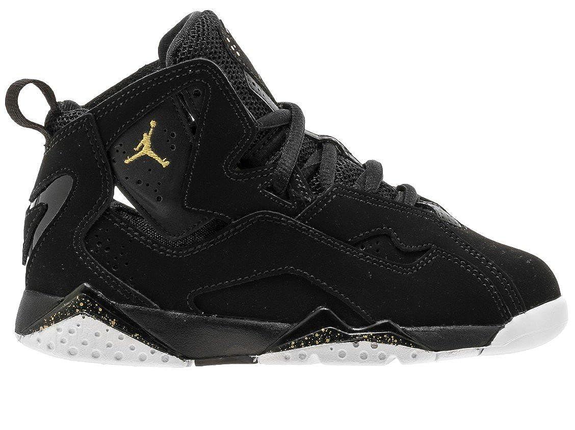 Jordan Nike Kids True Flight BP Basketball Shoes (11 M US Little Kid, Black Black White Gold) BT0383