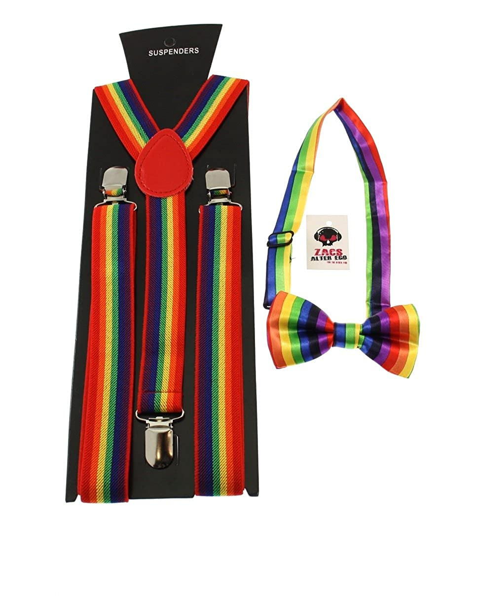 Zacs Alter Ego Mens Matching Suspenders /& Pre-Tied Bow Tie Combo Sets