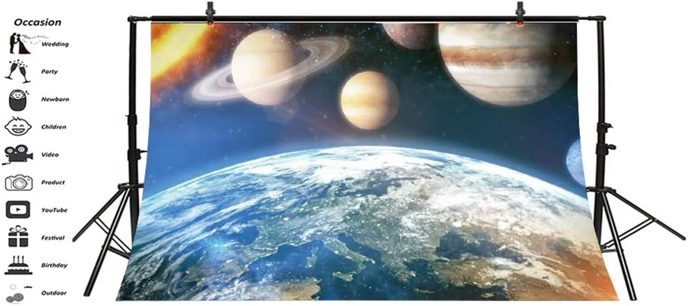 Laeacco Vinyl 7x5ft Beautiful Earth Aerial View Universe Photography Background Hot Sun Various Planets Solar System Backdrops Children Adults Portrait Shoot Boys Outer Space Theme Party Banner