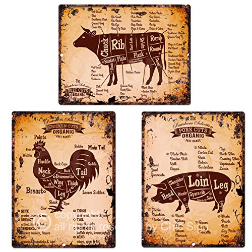 Beef Pork Chicken Meat Cuts Chart Guide Rustic Vintage Kitchen Wall Decor Three of 9