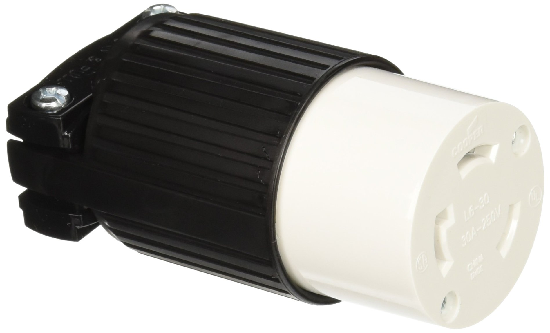 Eaton L630C 30-Amp 250-Volt Hart-Lock Industrial Grade Connector with Safety Grip Black and White
