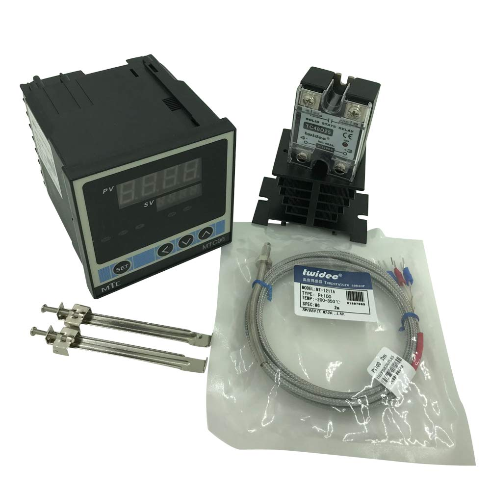 Twidec MTC96 PID Temperature controller, 90-240VAC, 0-400 °C, Input: PT100, Output: SSR(DC12V); PT100 screw probe, probe lead length 2M(78.74 inches);TC48D25 SSR 25A;Black heat sink