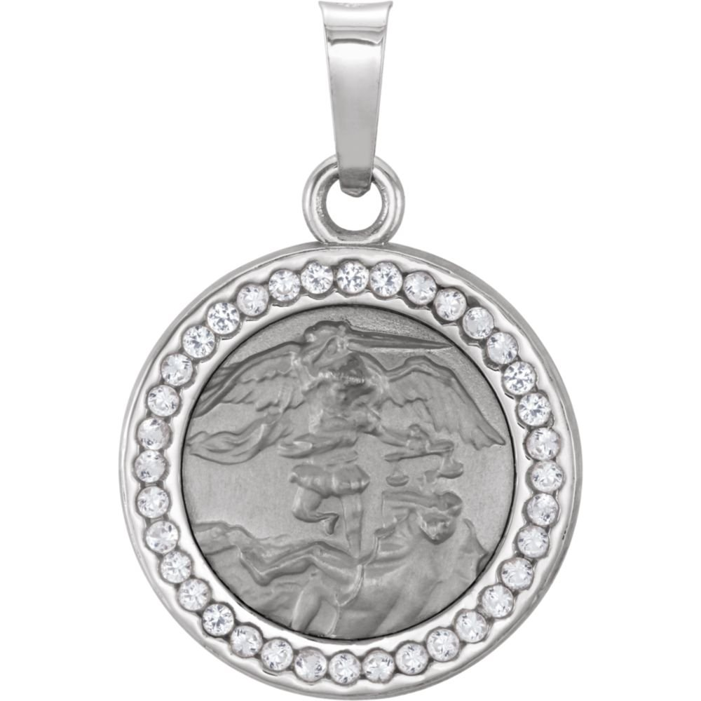 Jewels By Lux 14k White Gold St Michael Medal with Lab-Created White Sapphires